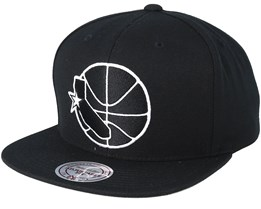 Golden State Warrior Wool Solid Black/White Snapback - Mitchell & Ness