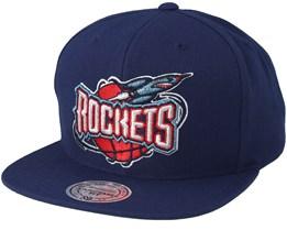 Houston Rockets Wool Solid Navy Snapback - Mitchell & Ness