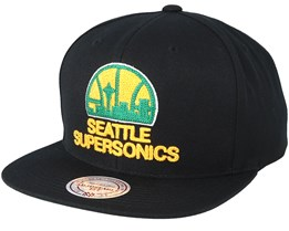 Seattle Supersonics Wool Solid Black/Yellow/Green Snapback - Mitchell & Ness