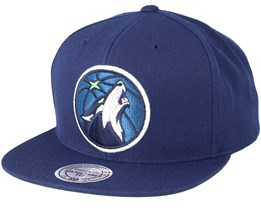 Minnesota Timberwolves Wool Solid 2 Navy Snapback - Mitchell & Ness