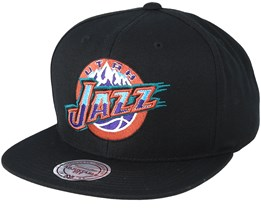 Utah Jazz Wool Solid Black/Orange/Teal Snapback - Mitchell & Ness