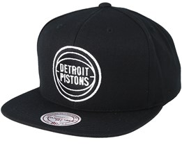 Detroit Pistons Wool Solid Black/White Snapback - Mitchell & Ness