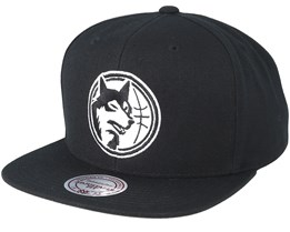 Minnesota Timberwolves Wool Solid 2 Black Snapback - Mitchell & Ness