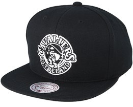Cleveland Cavaliers Wool Solid Black White Snapback - Mitchell   Ness 1f681947160