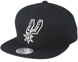 San Antonio Spurs Wool Solid Black/White Snapback - Mitchell & Ness