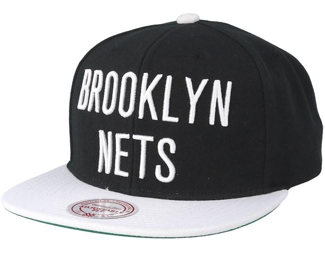 06885244f74 Brooklyn Nets XL Logo 2 Tone Black White Snapback - Mitchell   Ness cap -  Hatstore.co.in