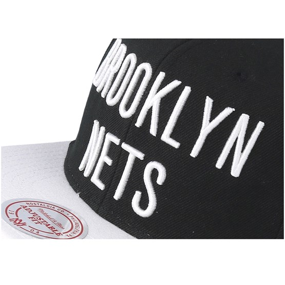 new style e8e3f f2406 Brooklyn Nets XL Logo 2 Tone Black White Snapback - Mitchell   Ness caps -  Hatstoreaustralia.com