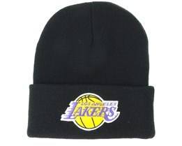 Los Angeles Lakers Team Logo Knit Black Cuff - Mitchell & Ness