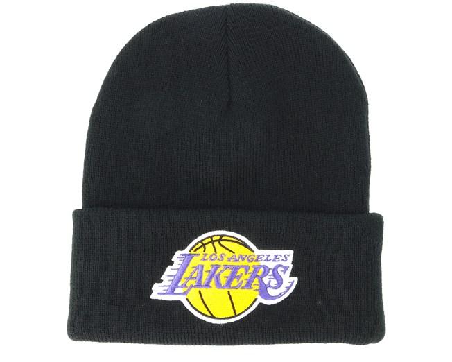 832a6f7de521d Los Angeles Lakers Team Logo Knit Black Cuff - Mitchell   Ness ...