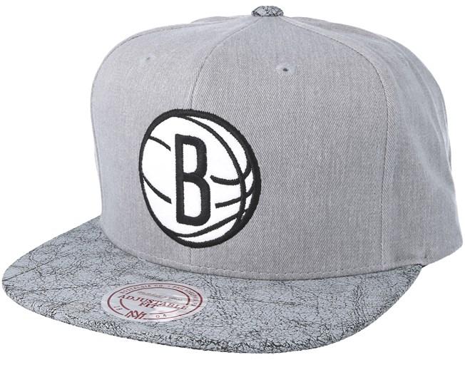 Brooklyn Nets Grey Snapback - Mitchell   Ness caps - Hatstoreworld.com 3a57c13e678a