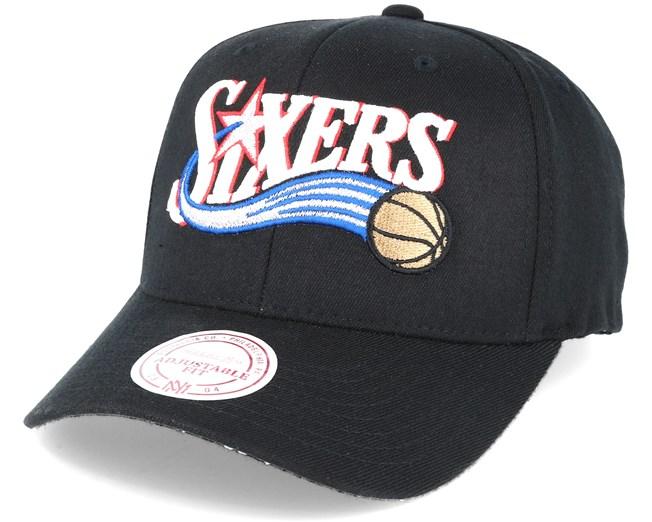 e0798a62c9f Philadelphia 76ers Team Logo Flexfit 110 Black Adjustable - Mitchell   Ness