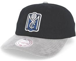 M&N Tennis Logo Black/Grey Strapback - Mitchell & Ness