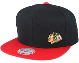 Chicago Blackhawks Little Logo Black/Red Snapback - Mitchell & Ness