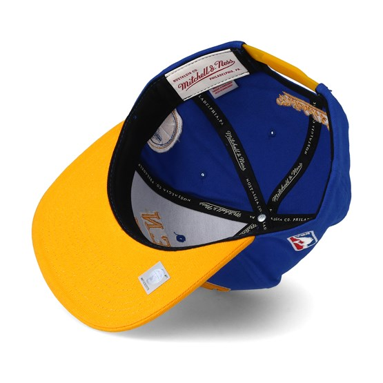 0976b8b0cb4 Golden State Warriors Wordmark Blue Snapback - Mitchell   Ness cap -  Hatstore.co.in