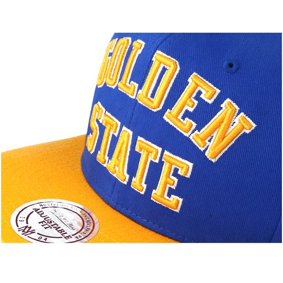 Golden State Warriors Wordmark Blue Snapback - Mitchell   Ness caps ... 61234b8f08a