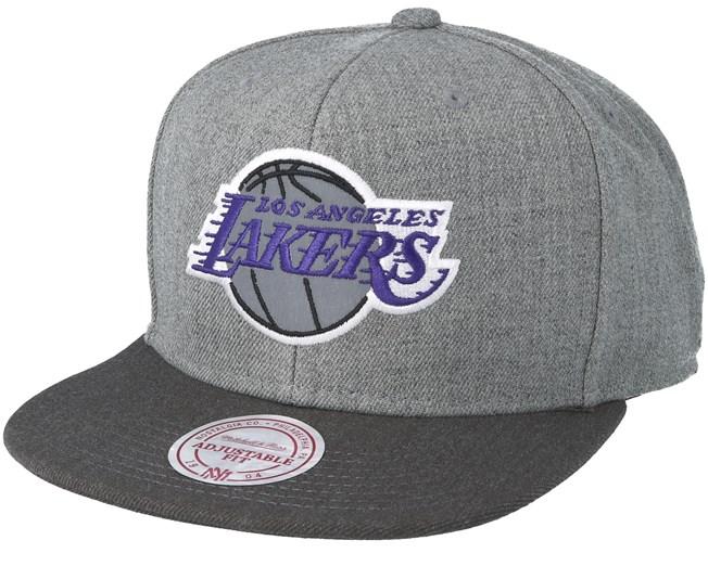 67c621adf3d288 Los Angeles Lakers Heather Reflective Grey Snapback - Mitchell & Ness caps  - Hatstorecanada.com