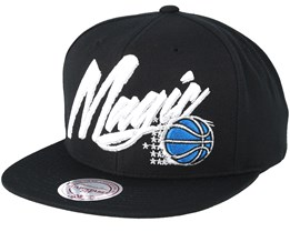 best service d90d0 ca27f Orlando Magic Vice Script Solid Black Snapback - Mitchell   Ness