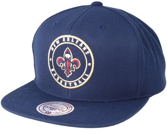 New Orleans Pelicans Circle Patch Team Navy Snapback - Mitchell   Ness -  Start Cappellino - Hatstore b56066397c6a