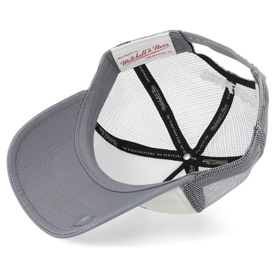a9774fee8c1 Toronto Raptors The Distressed Print P.P Stone Charcoal Trucker - Mitchell    Ness caps