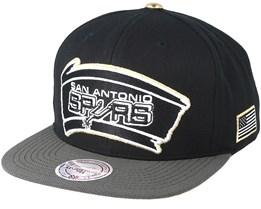 San Antonio Spurs Gold Tip Black Snapback - Mitchell & Ness