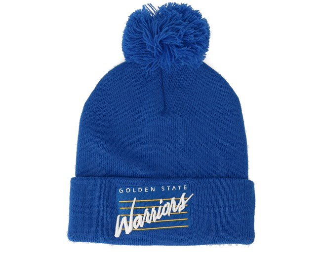 826c9586 Golden State Warriors Cursive Script Knit Royal Pom - Mitchell & Ness