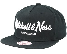 Own Brand Pinscript Logo High Crown Black Snapback - Mitchell & Ness