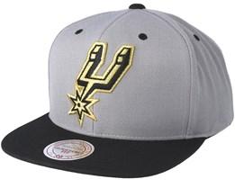 San Antonio Spurs Black & Gold Metallic Grey Snapback - Mitchell & Ness