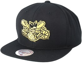 Charlotte Hornets Black & Gold Metallic Black Snapback - Mitchell & Ness