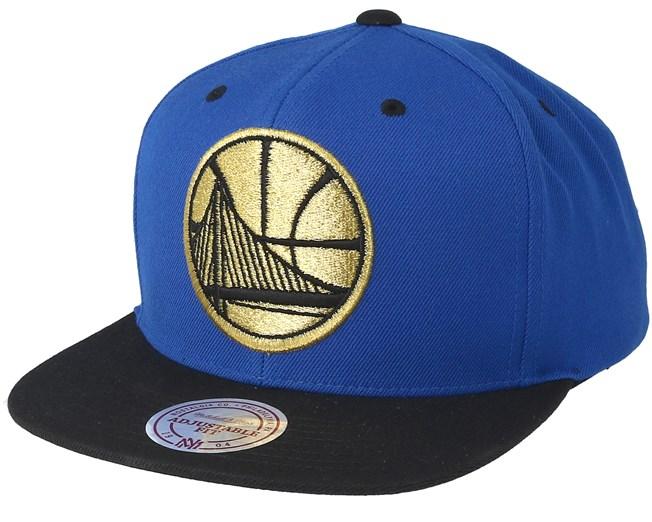 c8c41c8845c Golden State Warriors Black   Gold Metallic Blue Snapback - Mitchell   Ness  cap - Hatstore.co.in