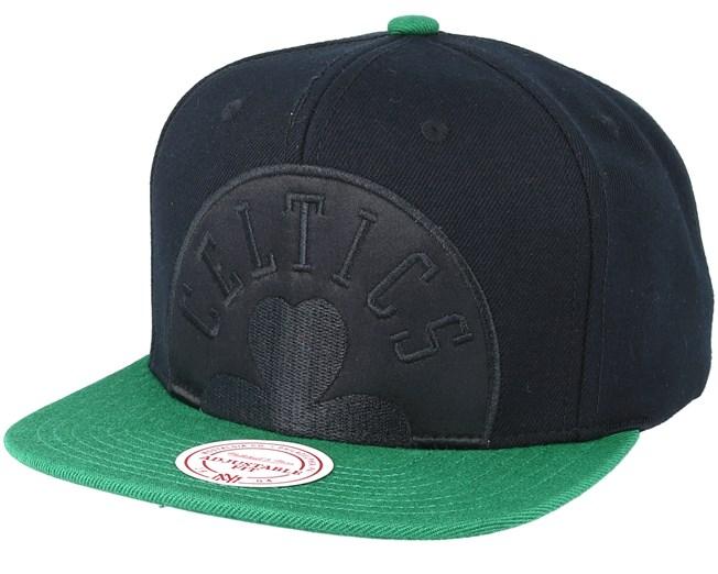 c4463299743 Boston Celtics Cropped Satin Black Snapback - Mitchell   Ness caps -  Hatstorecanada.com