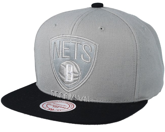 more photos f2bf1 570b4 Brooklyn Nets Cropped Satin Grey Black Snapback - Mitchell   Ness caps -  Hatstoreworld.com
