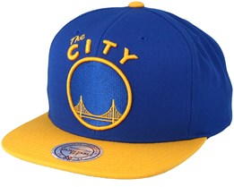 Golden State Warriors XL Logo 2 Tone Yellow/Blue 3 Snapback - Mitchell & Ness