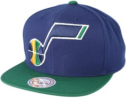 Utah Jazz XL Logo 2 Tone Green/Navy Snapback - Mitchell & Ness