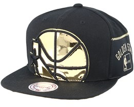 Golden State Warriors Patent Cropped Black Snapback - Mitchell & Ness