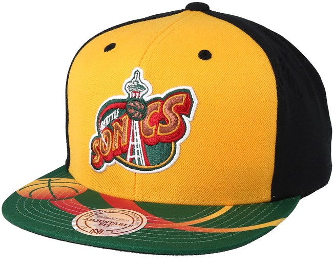 101bdf1d29d4ee Seattle Supersonics Team Sublimated Yellow/Black Snapback - Mitchell & Ness  caps - Hatstoreaustralia.com