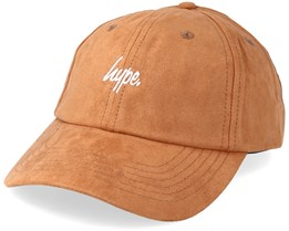 Faux Suede Script Dad Cap Camel Adjustable - Hype