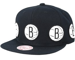 7f4d12a40afcf Brooklyn Nets Multi Logo Black Snapback - Mitchell   Ness