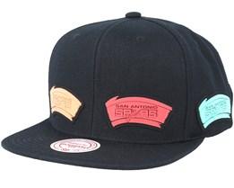 San Antonio Spurs Multi Logo Black Snapback - Mitchell & Ness