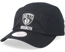 Brooklyn Nets Perforated Faded Camper Black Adjustable - Mitchell & Ness