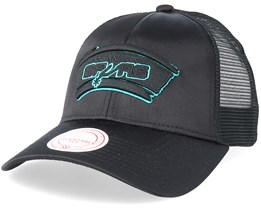 San Antonio Spurs Satin Current Black/Black Trucker - Mitchell & Ness