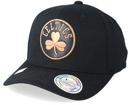 Boston Celtics Leather Logo Black 110 Adjustable - Mitchell & Ness