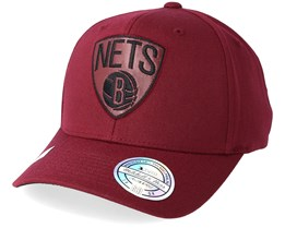 Brooklyn Nets Leather Logo Burgundy 110 Adjustable - Mitchell & Ness