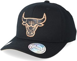 Chicago Bulls Leather Logo Black 110 Adjustable - Mitchell & Ness