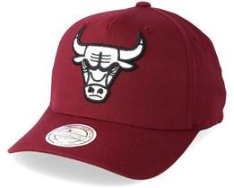 Chicago Bulls Outline Logo Burgundy 110 Adjustable - Mitchell & Ness