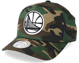 Golden State Warriors Outline Logo Woodland Camo 110 Adjustable - Mitchell & Ness