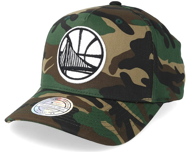 brand new c7559 1a76a Golden State Warriors Outline Logo Woodland Camo 110 Adjustable - Mitchell    Ness caps - Hatstoreworld.com