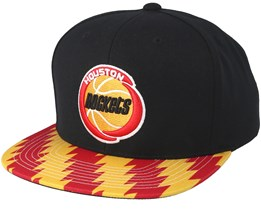 Houston Rockets Team DNA Black/Burgundy/Yellow Snapback - Mitchell & Ness