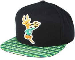 Milwaukee Bucks Team DNA Black/Green Strips Snapback - Mitchell & Ness