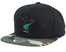 Milwaukee Bucks Blind Camo Black/Camo Snapback - Mitchell & Ness