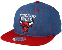 Chicago Bulls Pinstripe Denim/Red Snapback - Mitchell & Ness